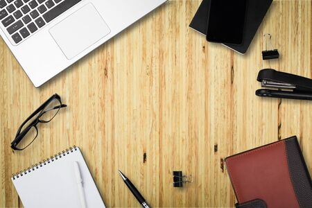 Top view workspace mockup on white background