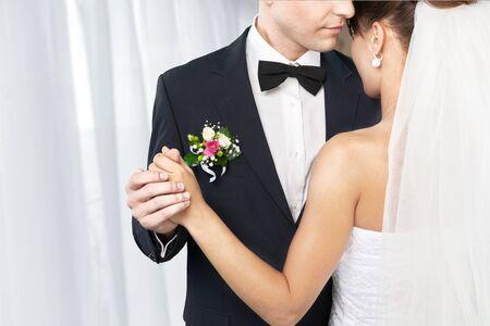 Heureux jeune couple juste marié Banque d'images