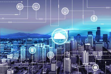 Technology illustration on city background
