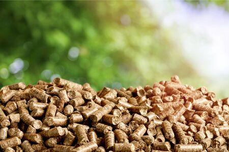 Pellets Biomasse - Nahaufnahme auf Hintergrund Standard-Bild