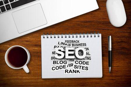 sign showing Seo and Adwords. Conceptual  Pay per click Digital marketing  Adsense Stock Photo