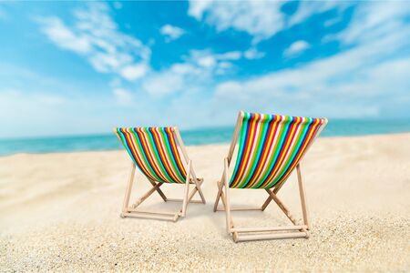 Sun lounger on beach 写真素材