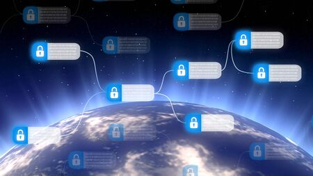 Cybersecurity and global communication, secure data network concept
