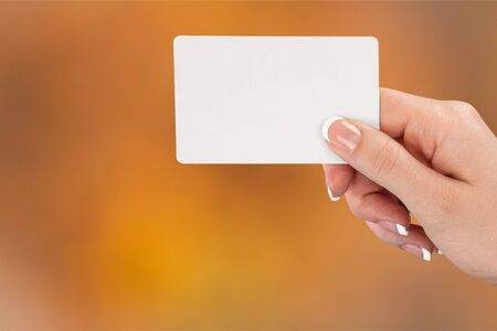 Empty card in human hand
