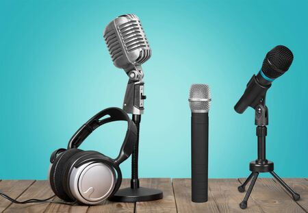 Retro old microphones