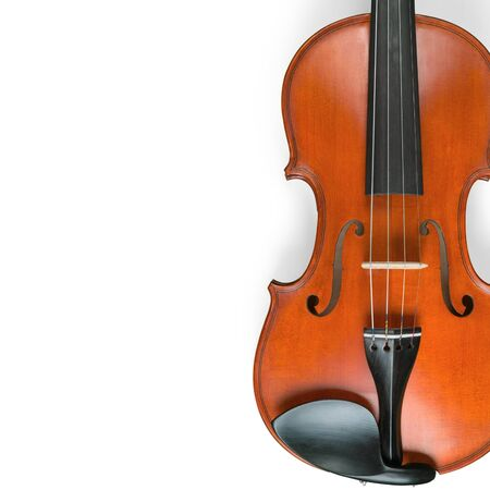 Violin with bow isolated on white background. Standard-Bild