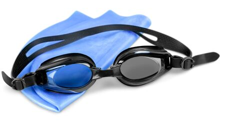 Swimming cap isolated equipment swimming goggles swim sport Stock Photo