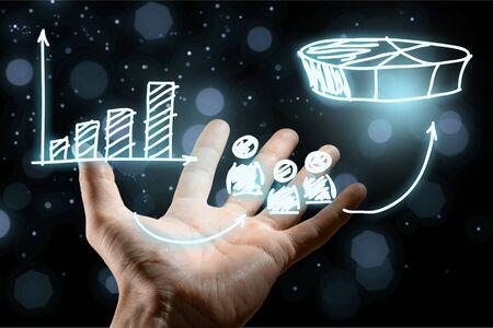 Marketing positioning and marketing strategy - segmentation, targeting, and positioning. Visualization of marketing marketing positioning. Foto de archivo