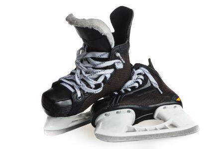 Pair of Black Ice Hockey Skates, Isolated on White Background