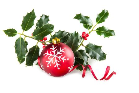 Sprigs of Christmas Holly with Red Bauble