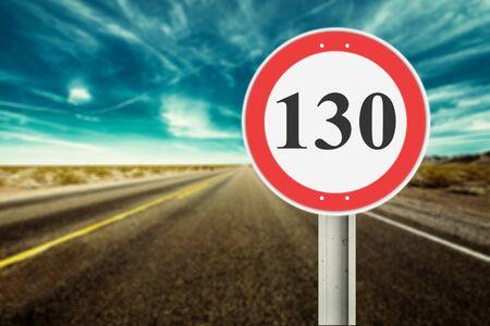 130 speed limit sign German Autobahn kmh          - Image Stock Photo
