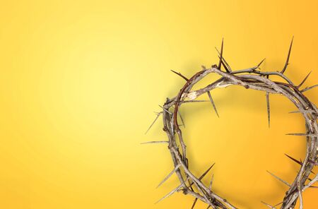 Good Friday, Lent Season and Holy Week concept - A woven crown of thorns on purple background.          - Image