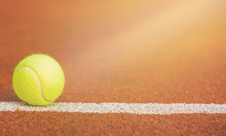 Tennis Ball on the Court on  background