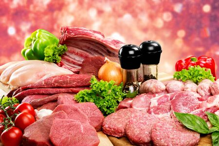 Fresh Raw Meat Background with vegetables Stock Photo