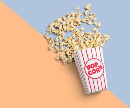 Flat lay of popcorn