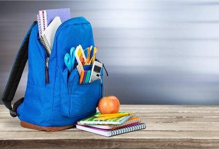 Blue School Backpack  on   background. Stockfoto