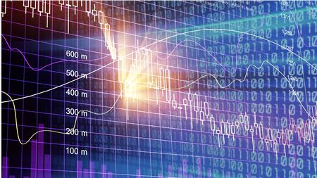 Graph stock market indicator financial forex trade. Forex trade indicator front stock market financial trade graph background. Forex and stock market education. Abstract financial indicator background
