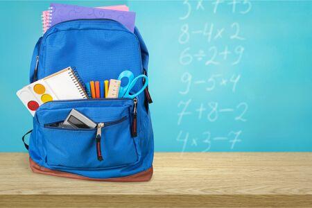 Blue School Backpack  on   background. Stok Fotoğraf