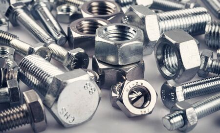 Bolts nuts screw washer zinc heap chrome Banco de Imagens