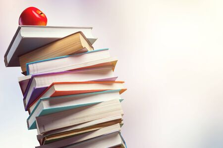 Stack of books isolated on  background. 版權商用圖片