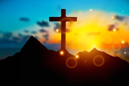 Christmas concept: Crucifixion Of Jesus Christ Cross At Sunset          - Image