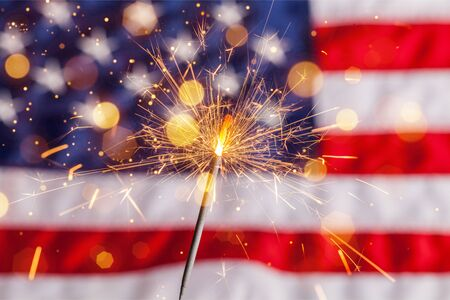 Fourth of july sparkler pyrotechnics july patriotism flag american culture