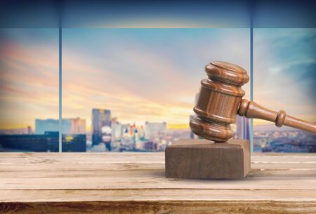Retro judge wooden gavel Stock Photo