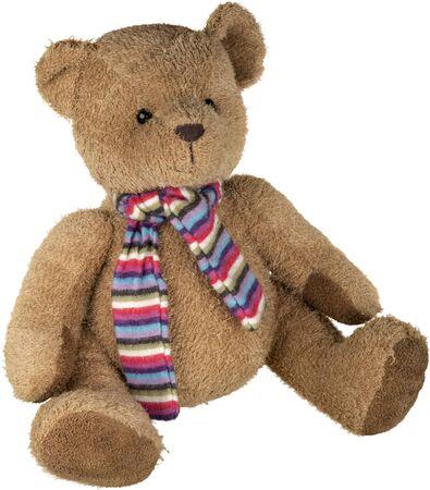 Teddy bear wearing a scarf