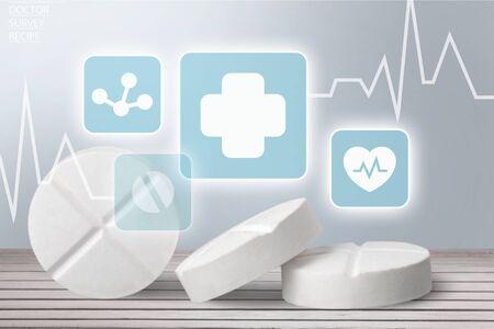 Medicine white pills on background