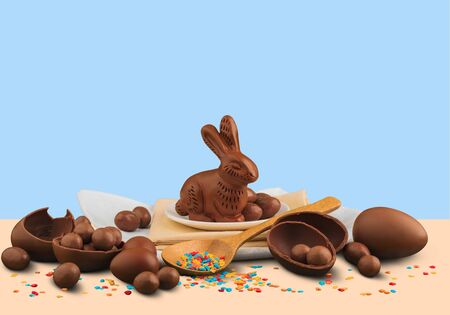 Delicious chocolate easter eggs and rabbit Stock Photo - 128032294