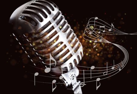 Retro style microphone on background Imagens