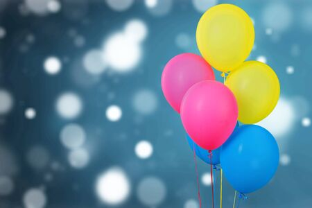 Bunch of colorful balloons on  background Imagens