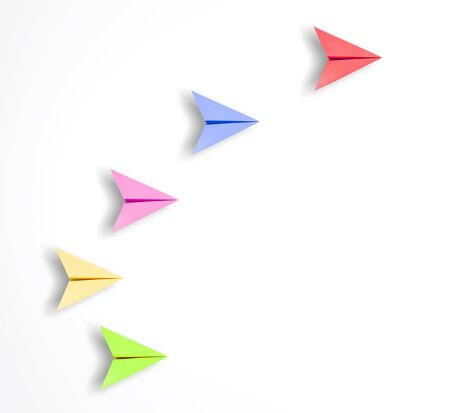 Paper plane on white background. Leadership and Business competition concepts. Copy space
