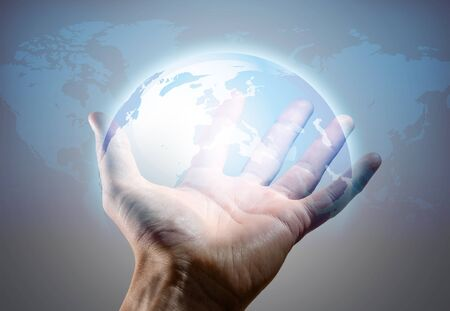 world in human hand