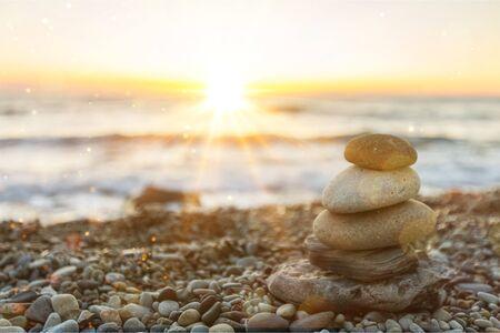 Zen basalt stones on background