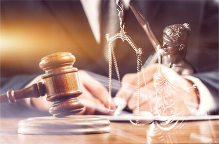 Close up gavel judge with lawyer working at courtroom. Stockfoto