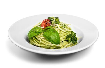 Italian pasta spaghetti with pesto sauce and basil leaf close-up Stock fotó