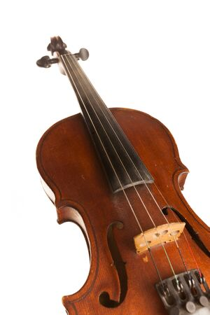 Front View of a Violin, Isolated on White Stock fotó