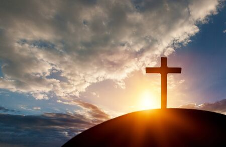 Silhouette cross on Calvary mountain sunset background. Easter concept          - Image Stock fotó