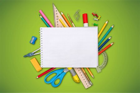 Colorful school supplies on white background Stock fotó