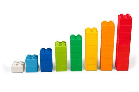 Toy blocks as increasing graph bar, infographic diagram, chart Imagens