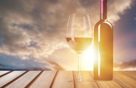 Red wine glass  on  background Stockfoto