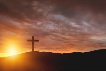 salvation concept:The Cross symbol of christian and Jesus Christ          - Image 写真素材