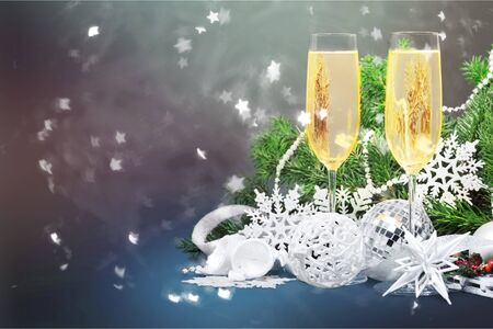 Sparkling New Year background. Champagne Explosion With