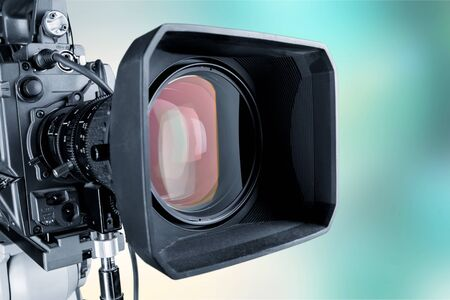 Close-up of a television camera lens on blurred background, bokeh Stockfoto
