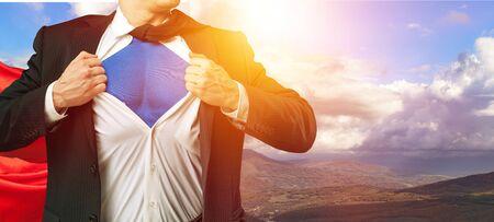 Business man superhero