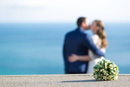 Amazing smiling wedding couple