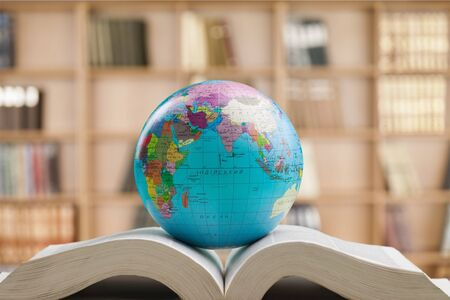 World globe on text book. International education