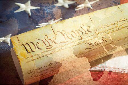 Rotolo di vintage Costituzione degli Stati Uniti, patriottismo, sfondo del 4 luglio