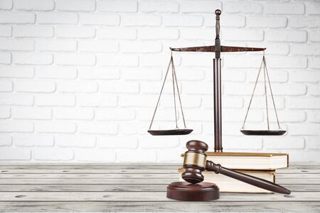 Justice Scales and wooden gavel . Justice concept